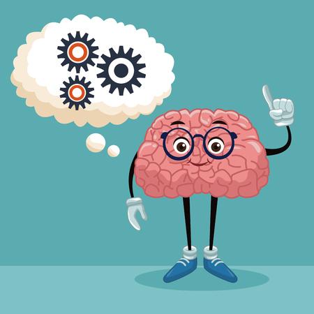 Cute brain cartoon icon vector illustration graphic design