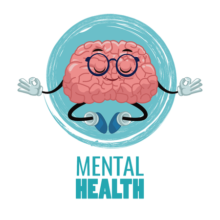 Silueta de cabeza con cerebro de dibujos animados icono ilustración vectorial diseño gráfico