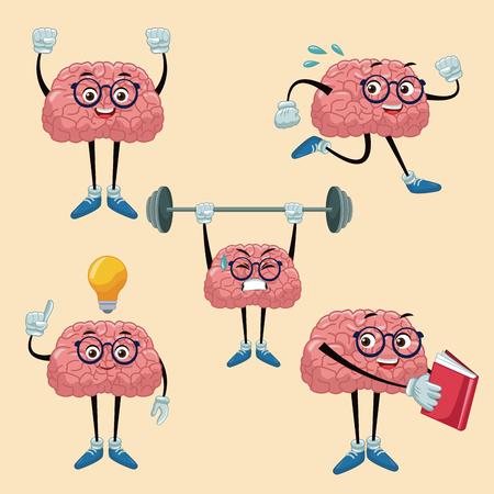 Cute brains cartoons icon vector illustration graphic design Illustration