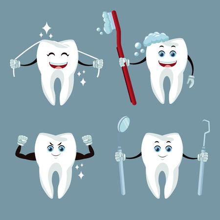 치과 치료 만화 및 아이콘 아이콘 벡터 일러스트 그래픽 디자인