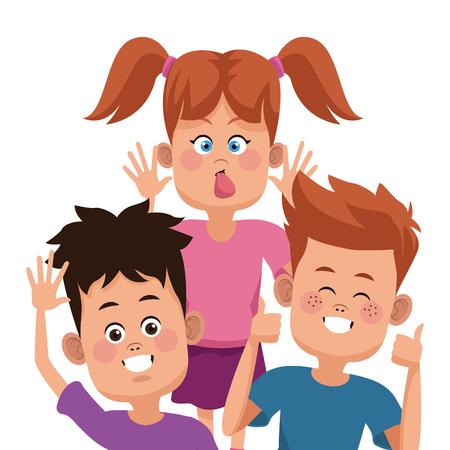 joking: Kids friends cartoon icon vector illustration graphic design