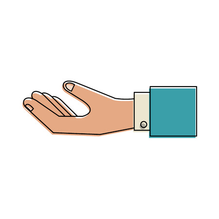 mobile communication: Hand with palm up icon image vector illustration design.