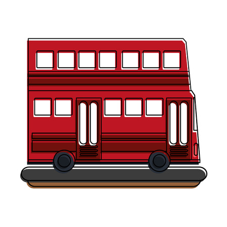 school: Double decker bus sideview  icon image vector illustration design.