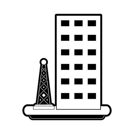 Antenne naast het bouwen van telecommunicatie pictogram afbeelding vector illustratie ontwerp zwart en wit. Stockfoto - 86221281