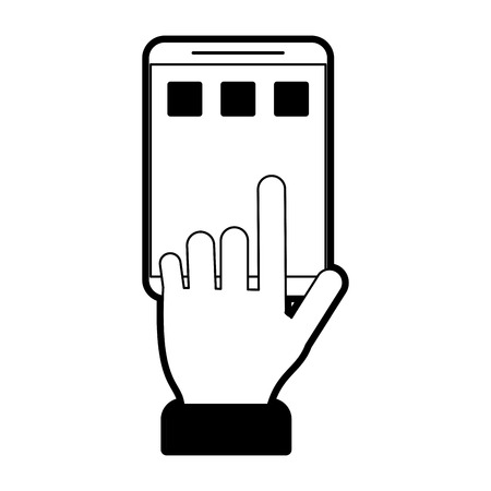 mobile communication: Hand tapping smartphone icon image vector illustration design  black and white. Illustration