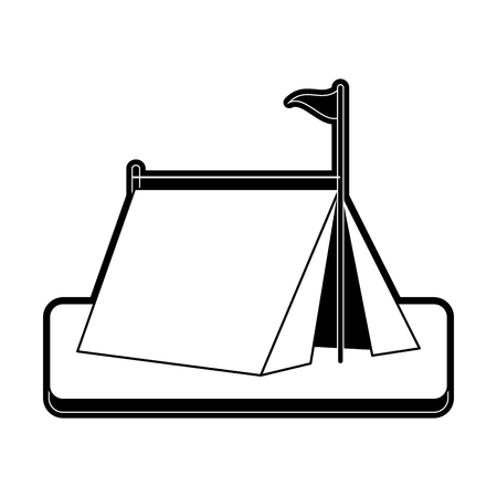 tent camping icon image vector illustration design  black and white