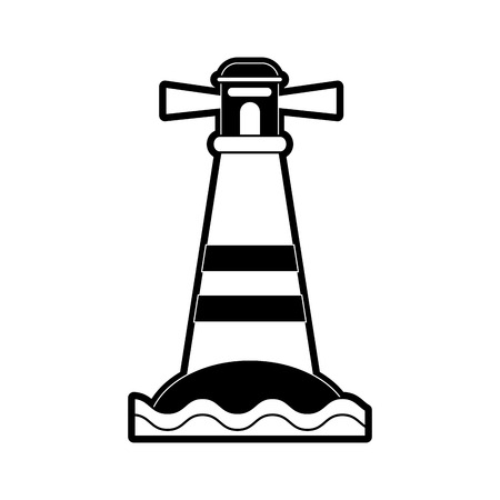 lighthouse on island icon image vector illustration design  black and white