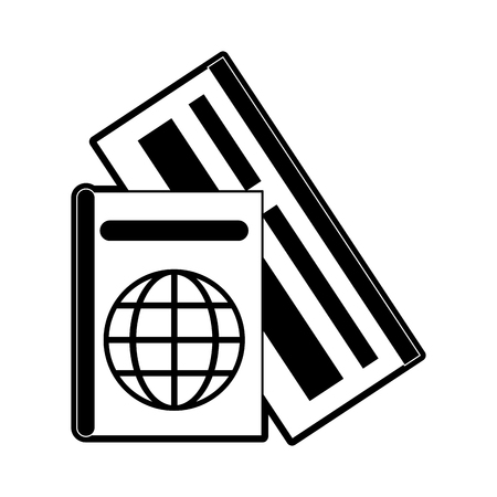 passport with tickets icon image vector illustration design  black and white Illustration