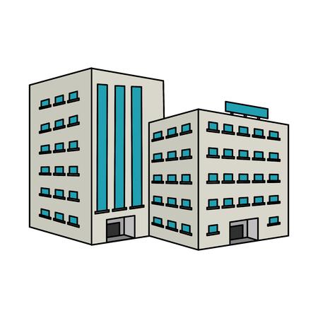 白い大きな都市建物アイコン イメージ イラスト デザイン  イラスト・ベクター素材