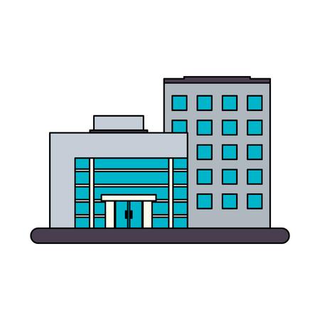 흰색 큰 도시 건물 아이콘 이미지 그림 디자인