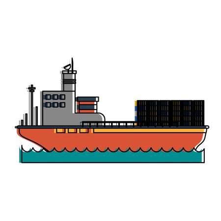 Vrachtschip met vector de illustratieontwerp van het containerspictogram