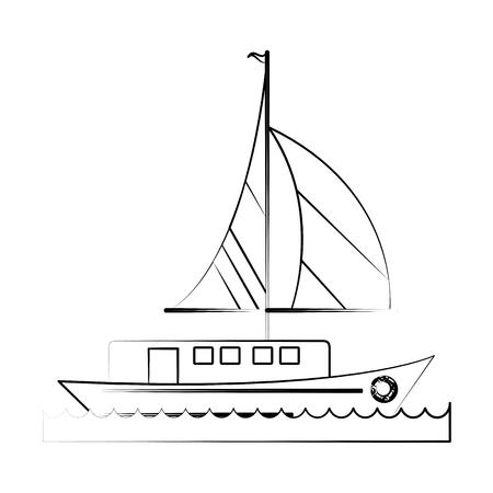 Ship with sails icon image vector illustration design  fine sketch line.