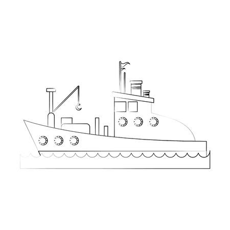 Fishing boat icon image vector illustration design  fine sketch line.