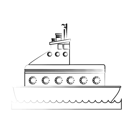 Motor boat icon image vector illustration design  fine sketch line.