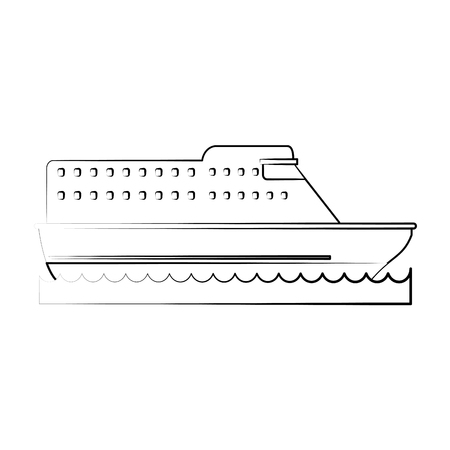 Cruise ship sideview icon image vector illustration design  fine sketch line.