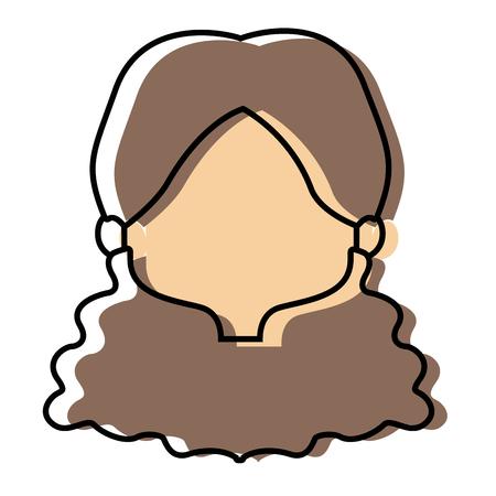 profile girl face female character head vector illustration