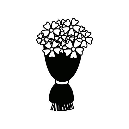 bouquet flowers romantic ornament wrapped ribbon vector illustration