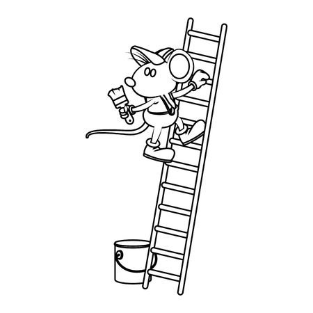 mouse worker painting on ladder cartoon icon vector illustration graphic design Illustration