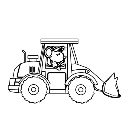 Cute mouse worker driving forklift cartoon icon vector illustration graphic design