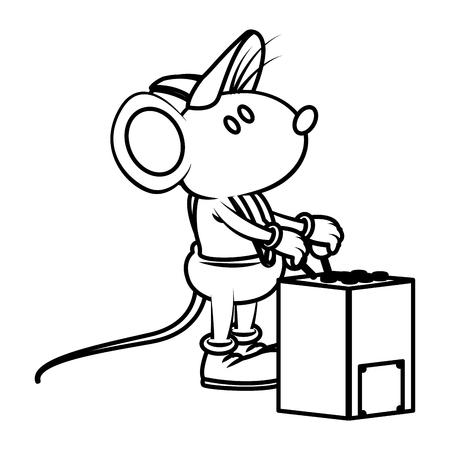 Cute mouse worker operating crane machine cartoon icon vector illustration graphic design