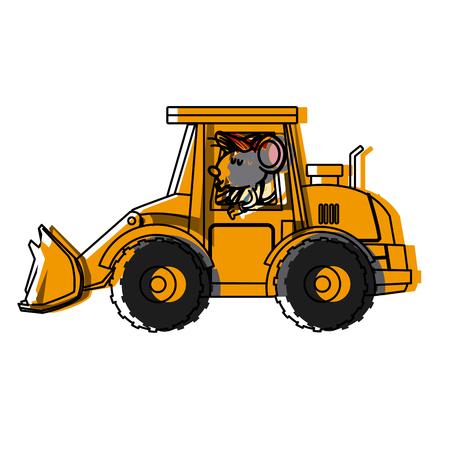 Lavoratore sveglio del topo che guida la progettazione grafica dell'illustrazione di vettore dell'icona del fumetto del carrello elevatore