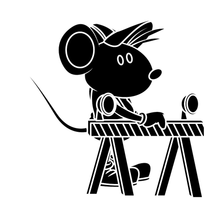 Cute mouse worker cartoon on barrier icon vector illustration graphic design Illustration