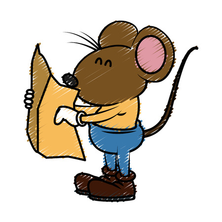 Cute mouse worker cartoon icon vector illustration graphic design