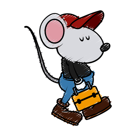 Cute mouse worker with toolbox cartoon icon vector illustration graphic design