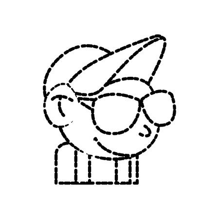 Cool guy cartoon icon vector illustration graphic design
