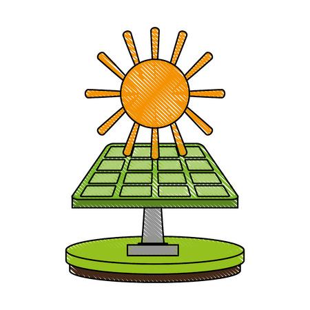 太陽電池パネル エネルギー アイコン ベクトル イラスト グラフィック デザイン。  イラスト・ベクター素材