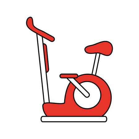 Spinning stationary bicycle icon vector illustration graphic design. Illustration