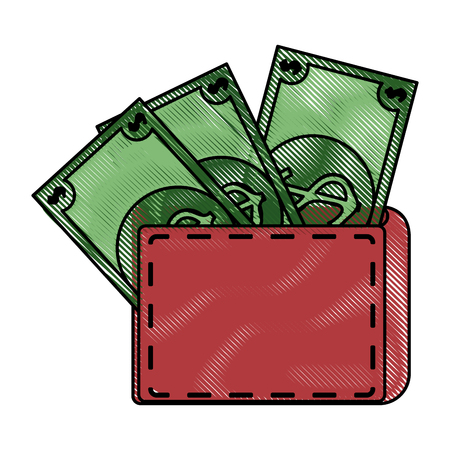 full cash wallet vector icon illustration graphic design