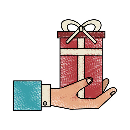godfather: gift box with banner bow vector icon illustration graphic design