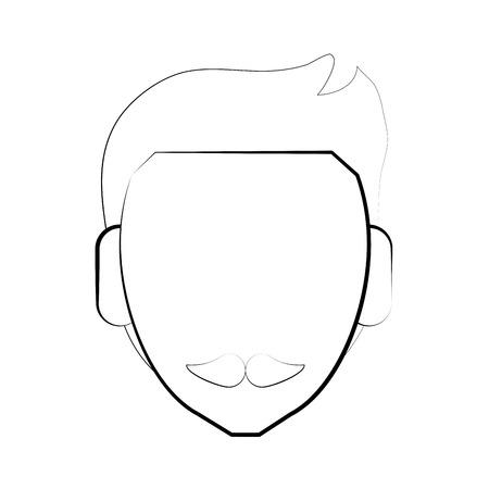 Faceless man character icon illustration graphic design Illustration