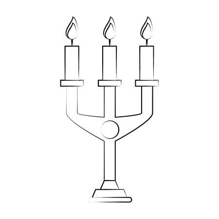 Burning old candle vintage icon illustration graphic design Illustration