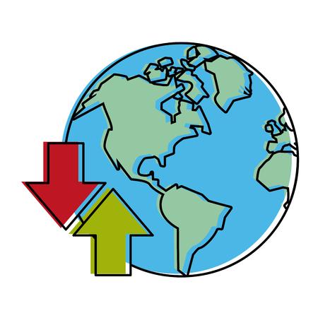 planet earth with upload download arrows internet  icon image vector illustration design Иллюстрация