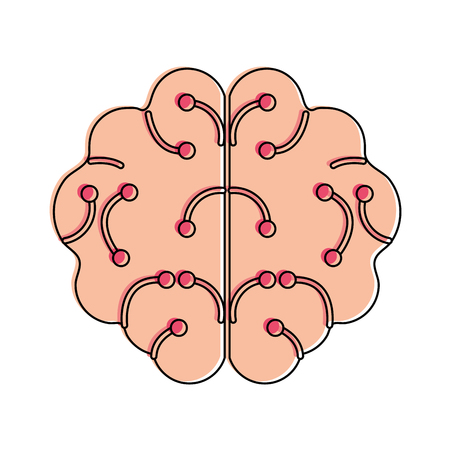 human brain artificial intelligence related icon image vector illustration design