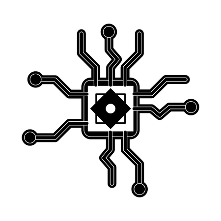 electronic components: cpu chip icon image vector illustration design  black and white