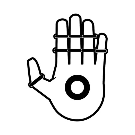 bionic hand artificial intelligence related icon image vector illustration design  black and white