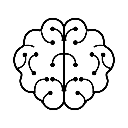 human brain artificial intelligence related icon image vector illustration design  black and white