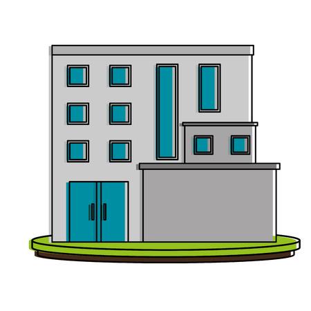 흰색 큰 도시 건물 아이콘