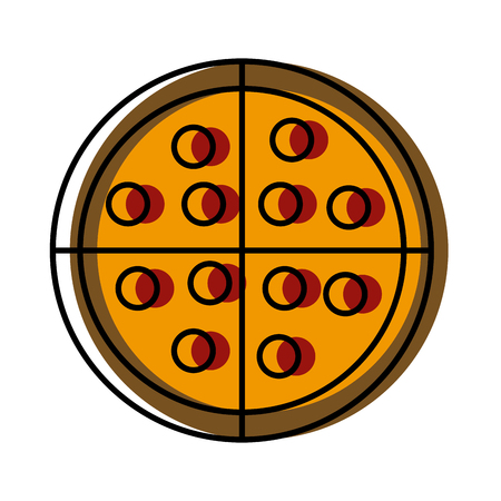 Big pizza food icon vector illustration graphic design