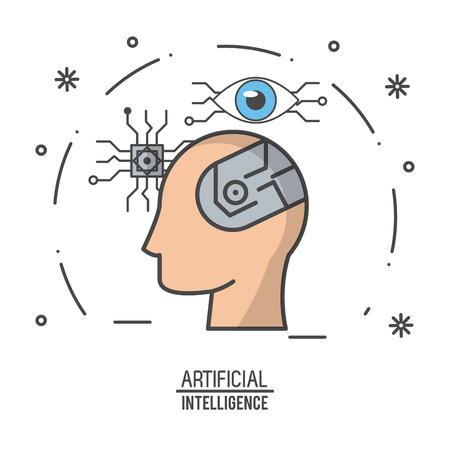 Artificial intelligence technology icon vector illustration graphic design Vector Illustration