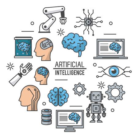 Künstliches Intelligenztechnologieikonenvektor-Illustrationsgrafikdesign