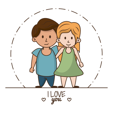 Kids in love cartoon icon vector illustration graphic design