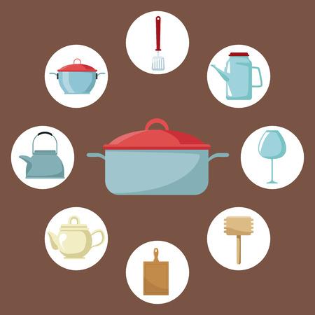 Kitchen utensil round frame icon vector illustration graphic design Illustration