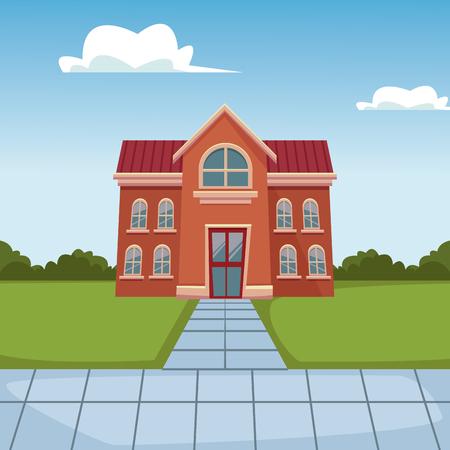 École bâtiment dessin animé icône vector illustration graphisme