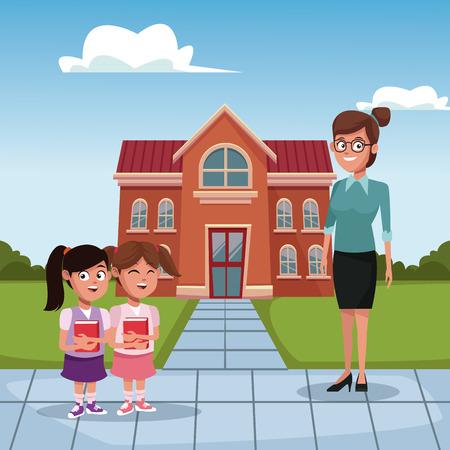 Kids and teacher in school icon vector illustration graphic design Ilustrace