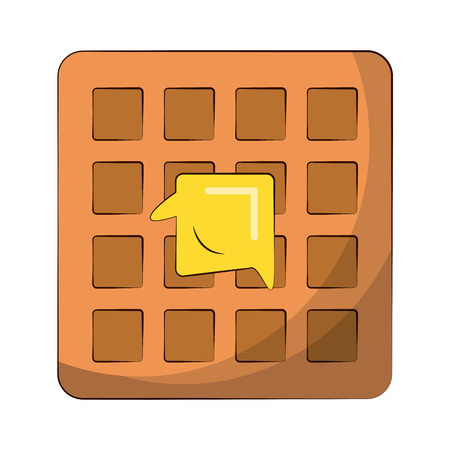 waffle with butter melting on it food related image vector illustration design Ilustrace