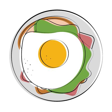 fried egg and sandwich food related image vector illustration design Illustration